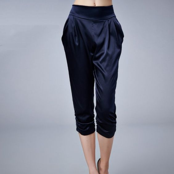 Navy #Blue Seventh Length Silk Pants In #Harem Style - - Silk #Pants