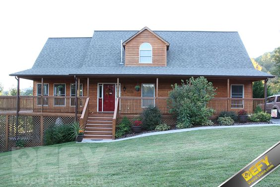 Stained House Siding : Cedar siding house and pressure treated deck stained with