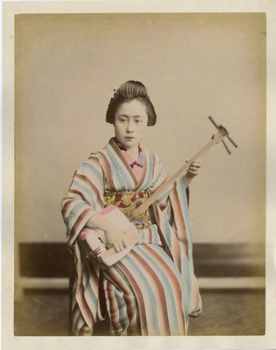 Japon Geisha Vintage Albumen Print Japan Tirage Albuminé Aquarellé 21x27 | eBay