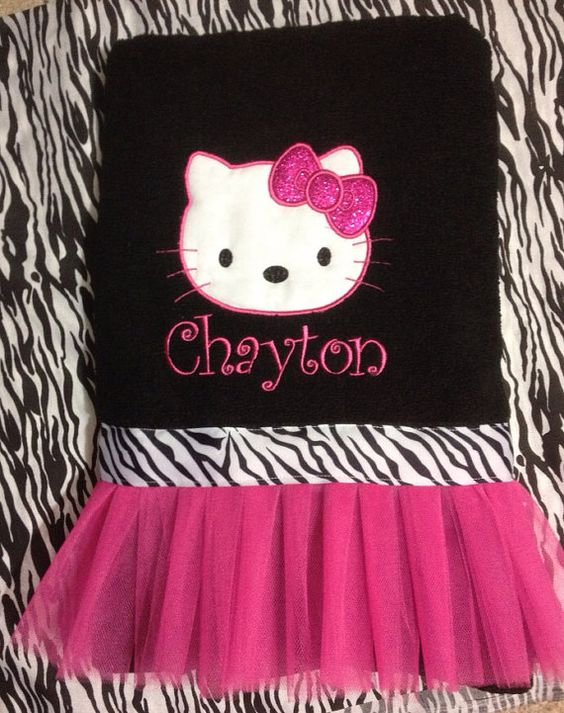 "Oversized Tutu towel 30"" x 64"" nap mat, beach towel Hello Kitty on Etsy, $23.99"