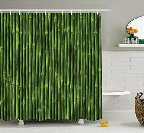 Bamboo Shower Curtain by Ambesonne, Bamboo Stems Pattern Tropical ...