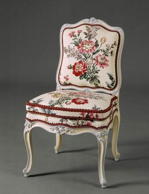 This chair belonged to Madame de Pompadour and remained in her home chateau at Bellevue.: