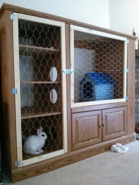 Upcycled diy bunny hutch out of an entertainment center for Upcycled entertainment center