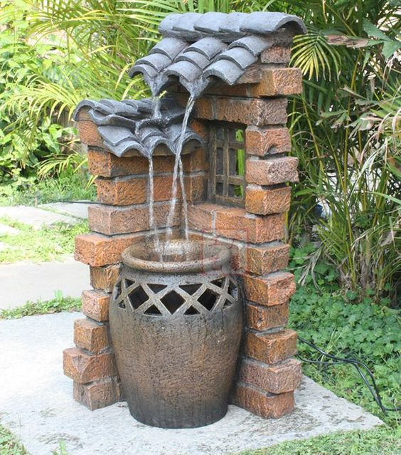 Rustic water fountains for landscaping eaved clay pots for Backyard water fountain ideas