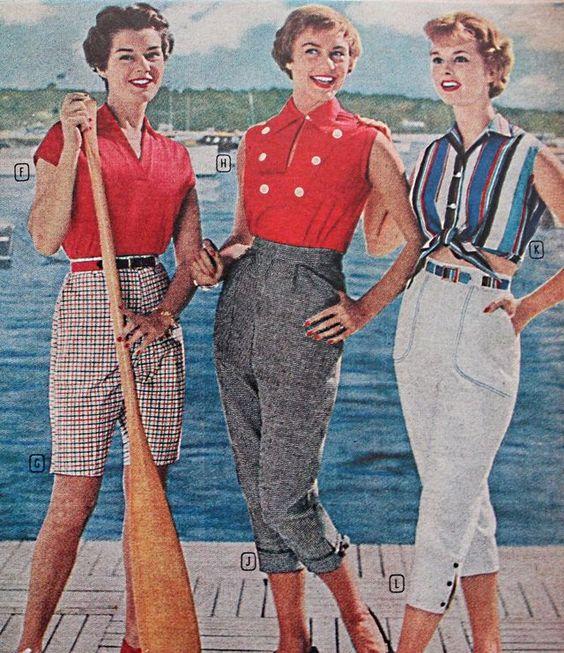 Women's 1950s Pants: Cigarette, Capri, Jeans Fashion History - 1958 nautical colors make summer capris fashionable