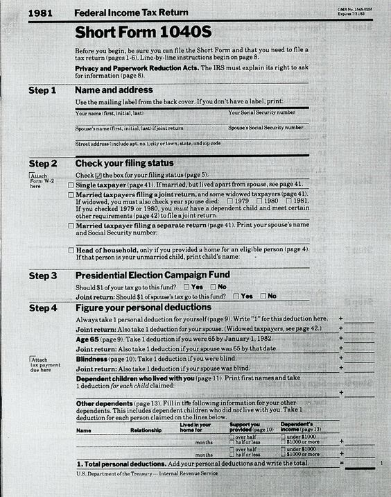 Federal Income Tax Return Forms 1981 Siegel \ Gale, 1985 AIGA - social security application form