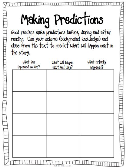 Prediction Worksheet Use With The Book The Wednesday