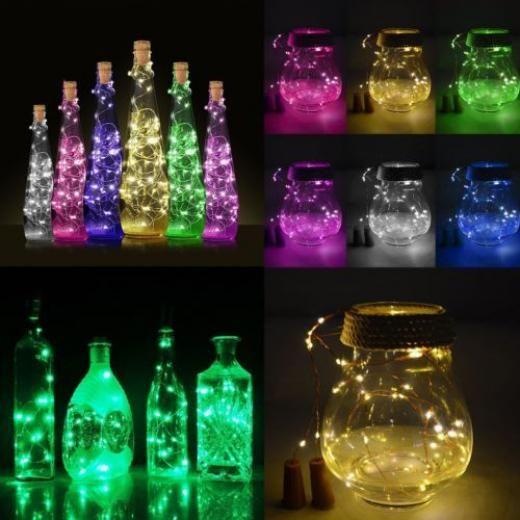 String Lights USB Rechargeable 15 LEDs Fairy Night Light Bottle Cork Plastic