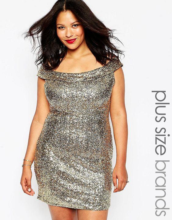 Image 1 ofClub L Plus Size Bardot Dress In Sequins