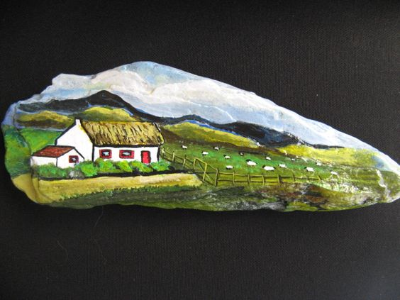 Irish cottage with sheep. Acrylic on rock found on the Antrim Coast N.I.... Great pasture scenery!
