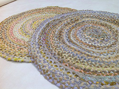 Hand Loomed 100cm Round Cotton Braided Pastel Multi Coloured Chindi Rag Rug Second Nature Online Http