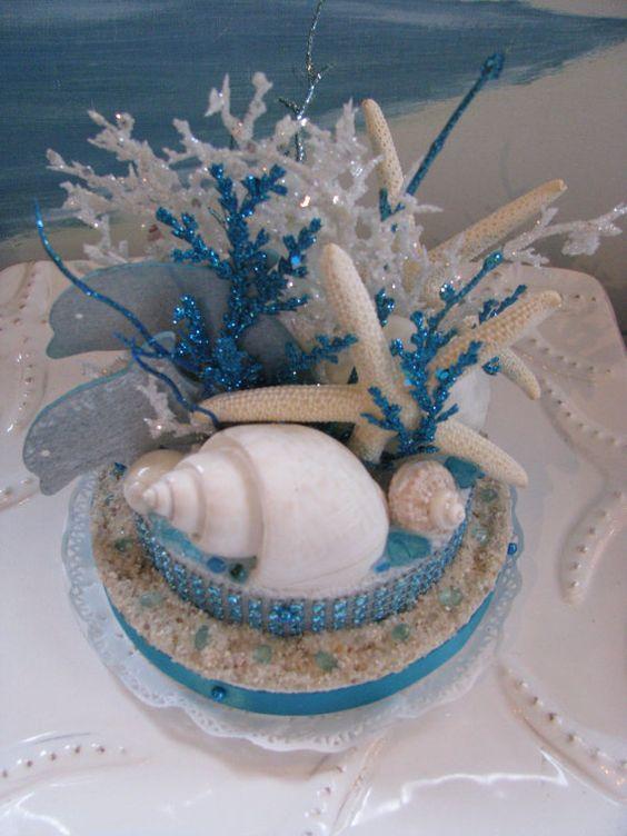 Reserved Custom Order Dolphin Coral Reef Wedding Cake Topper Starfish Seashells Wedding Cake