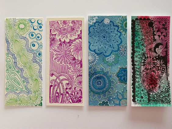 4 Mini Bookmarks by Ruby OpalTones #bookmarks #doodles