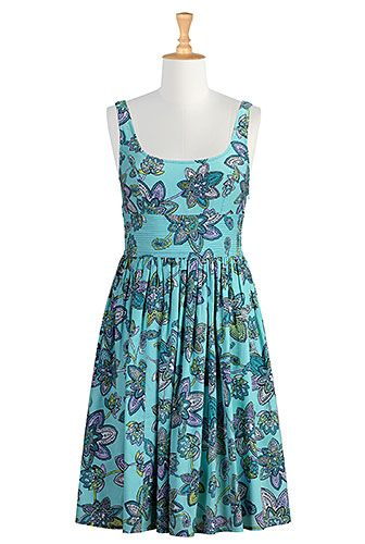 I <3 this High banded waist floral print dress from eShakti
