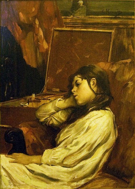"Constantin Meunier: ""Portrait of Jeanne Meunier"", c1895, oil on canvas Current locationMeunier Museum, Brussels"