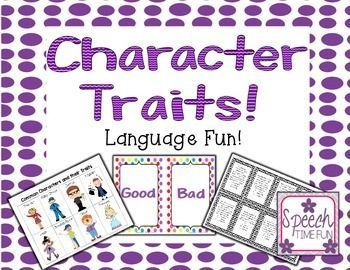 Character Traits for SLPs!  Multiple activities in one!  Great for mixed groups or working on character traits with more than one level!