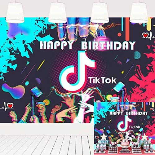 7x5ft Tik Tok Birthday Party Decoration Supplies Photography Backdrops For Girls Birthday Party In 2020 Party Cake Table Birthday Party Cake Party Decoration Supplies