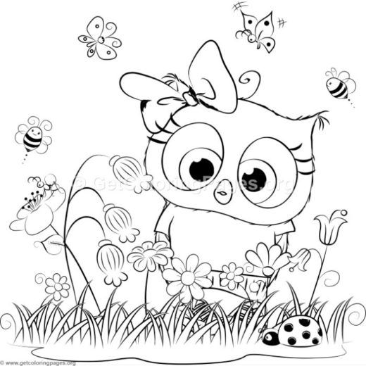 Owl Coloring Birthday Card