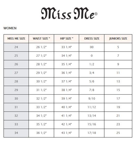 Miss Me Size Chart | Stages West | cowgirl clothes | Pinterest