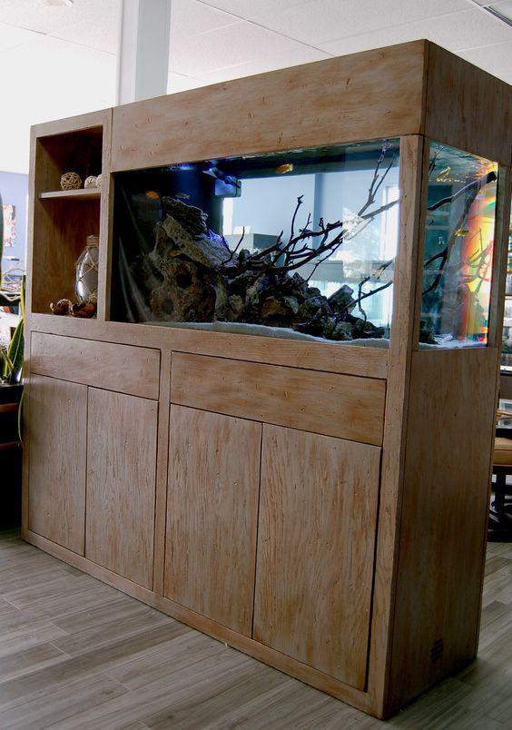 The Beechwood Model in Reclaimed Finish  90 gallon Cichlid Aquarium