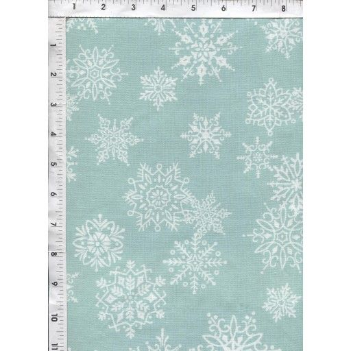 Delicate snowflakes on a mint green background provide an understated touch for the holiday season. www.americasbestthreads.com