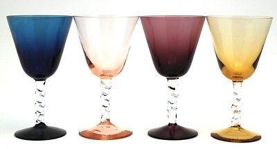 4 Crystal Wine Goblets Twist Stems Blue Purple Pink Amber 6 Oz | eBay