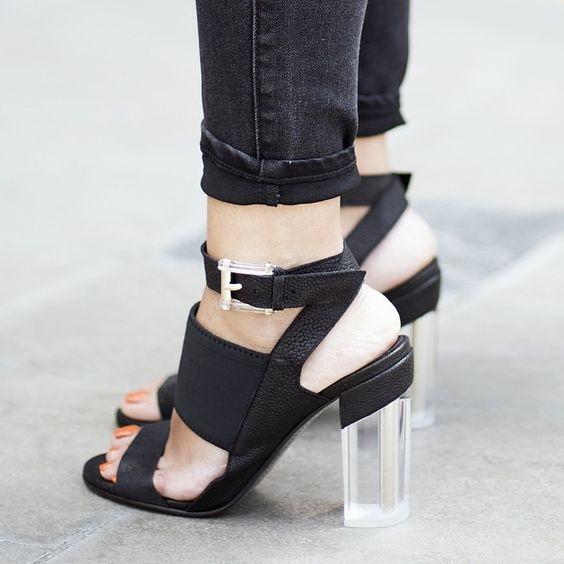 Miista Phoenix Black with metal & lucite heel