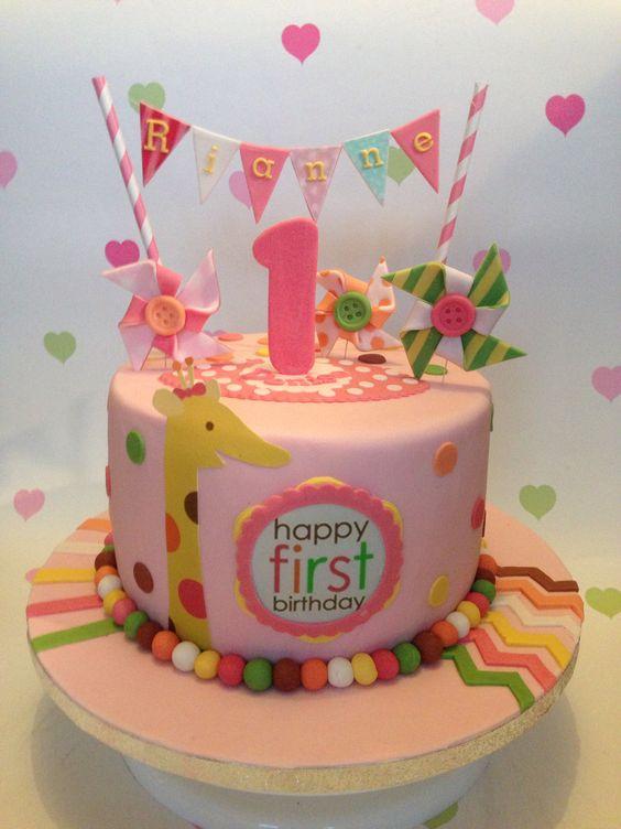 Sweet at One girls 1st birthday cake Vivianns world Pinterest