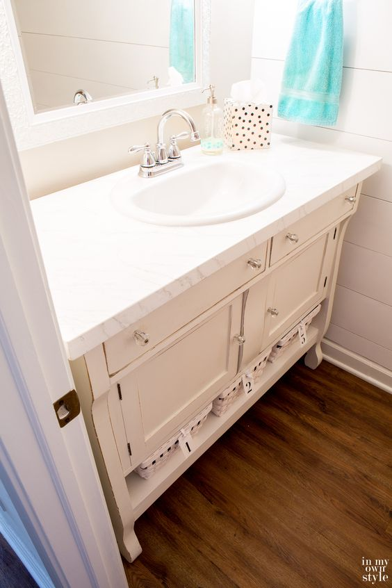 How to repurpose a piece of furniture and turn it into a sink vanity | In My Own Style