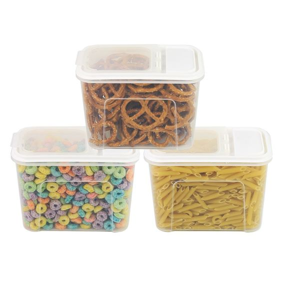 Amazon.com: 3 Pack - Plastic Storage Canisters, Food Saver Dispanser Container w/ Flip Top Lid: Kitchen & Dining
