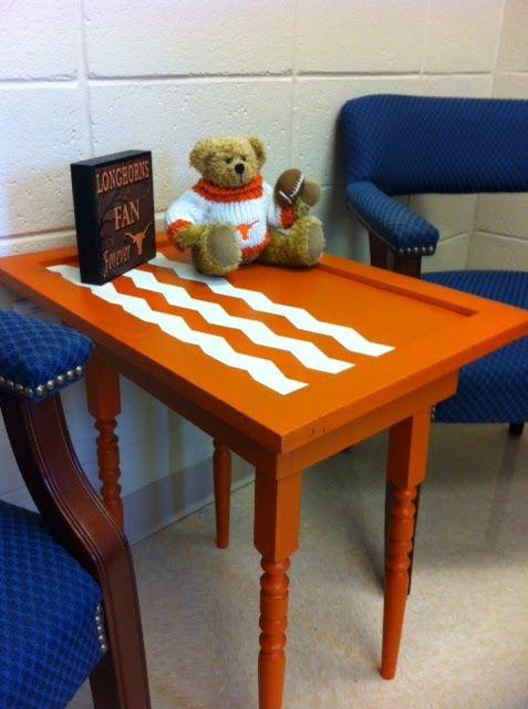orange and chevron table