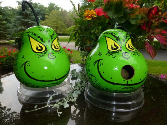 Hey, I found this really awesome Etsy listing at https://www.etsy.com/listing/169023544/grinch-hand-painted-gourd-birdhouse-or