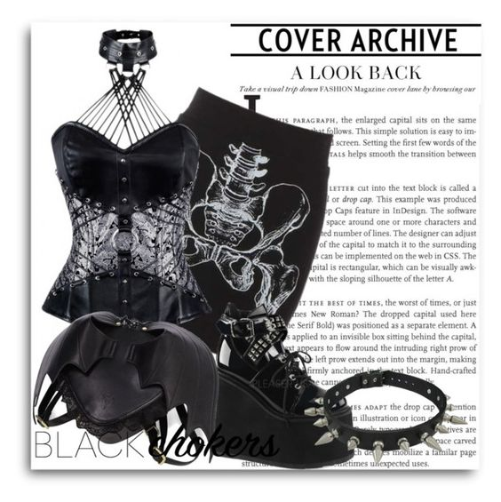 """Wear black : Gothic chockers"" by beverlyridgway ❤ liked on Polyvore featuring Demonia, women's clothing, women, female, woman, misses and juniors"