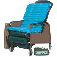 Includes Pump * Can be integrated into a geriatric chair recliner or standard wheelchair * 20 bladders gently alternate providing low interface pressures in addition to comfortably supporting the patient * Snap-on non-skid stretch-knit cover is anti-microbial and meets California Tech Bulletin #117 for fire retardancy *