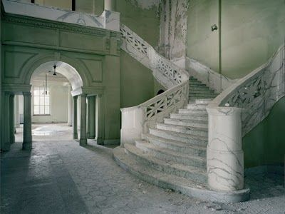 Abandoned state hospital in SD, look at that staircase...