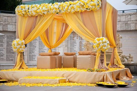 Indian wedding mandap decor ideas. Beautiful yellow mandap decoration