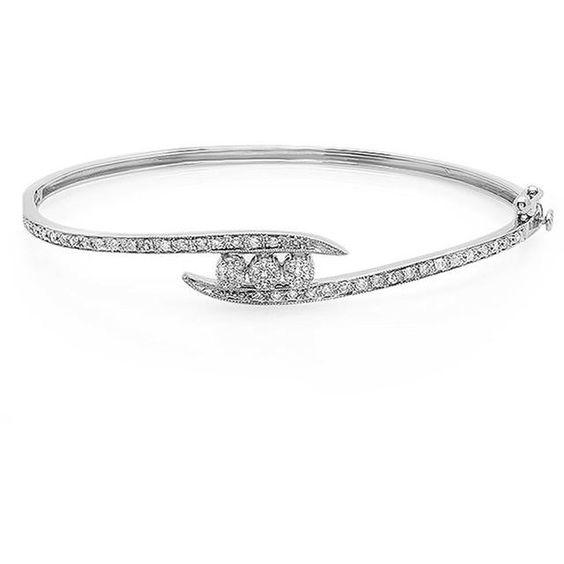 1/2 CT TW White Diamond 14K White Gold Thin Bypass Bangle Bracelet