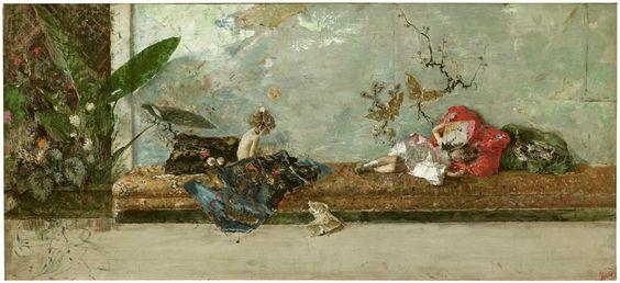 MARIANO FORTUNY, Los hijos del pintor en el salón japonés, 1874, Museo del Prado