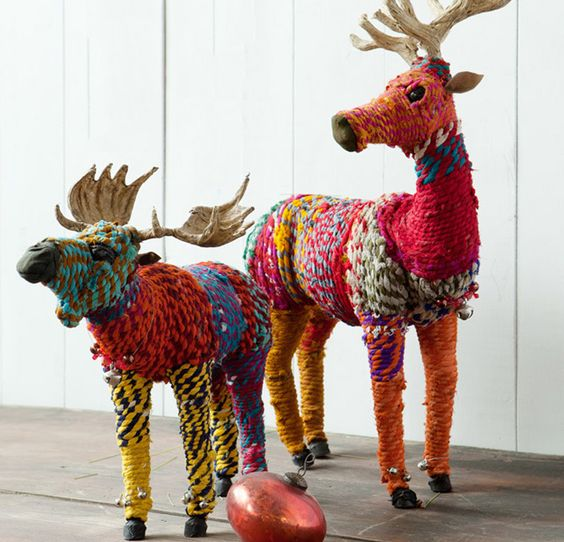 Created in the style of vibrant Chindi rugsfrom Jaipur, India, these wrapped reindeer are incredibly fun to make, are a clever way to repurpose old t-shirts, and make fabulous gift