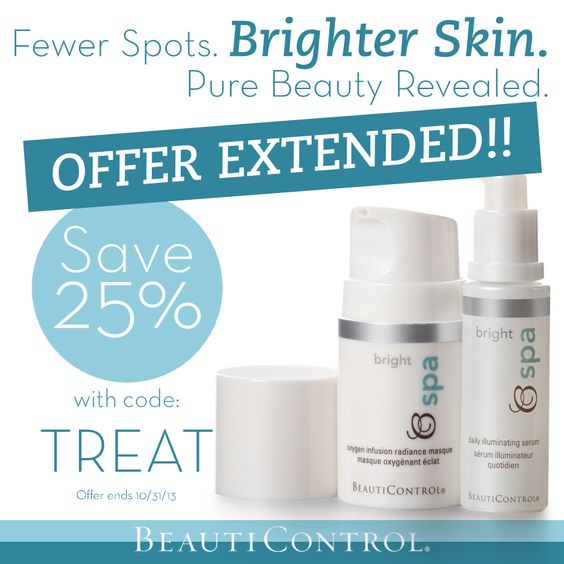 Clinically proven to boost skin's radiance and reduce the appearance of age spots and discolorations, BC Spa Bright is 25% off through 10.31.13 with promo code: TREAT entered at checkout! #BeautiControl