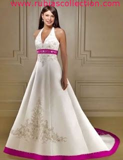 V Neck Line White and Hot Pink Wedding Dress Rubias Collection ...