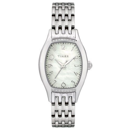 Timex Women's T2M589 Diamond Accented Silver-Tone Stainless Steel Bracelet Watch Timex. $99.99. Case diameter measures 25 mm. Strong mineral crystal protects dial from scratches and scrapes. Stainless-steel case; Mother-of-pearl dial. Quartz movement. Water-resistant to 99 feet (30 M)
