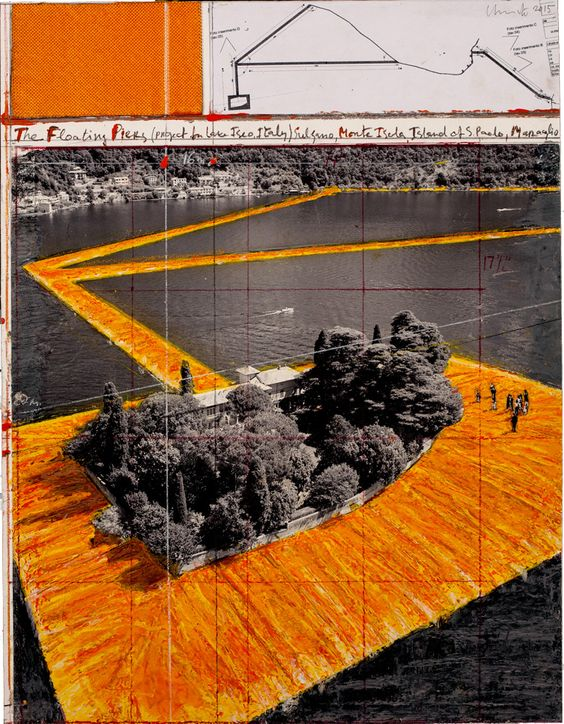 Christo: Floating Piers (Project for Lake Iseo, Italy), 2014. Exh. Galerie Gmurzynska, St. Moritz: 'Christo & Jeanne-Claude: Works in Progress'. February - March 2016.