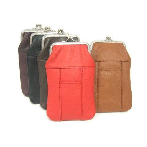 Black Leather Cigarette Case With Front Lighter Pocket