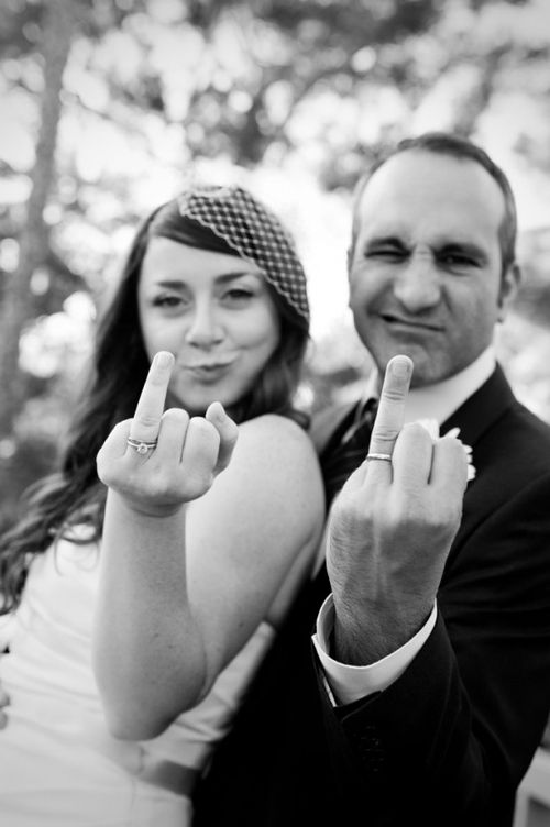 Rude but funny shot of the newlyweds.