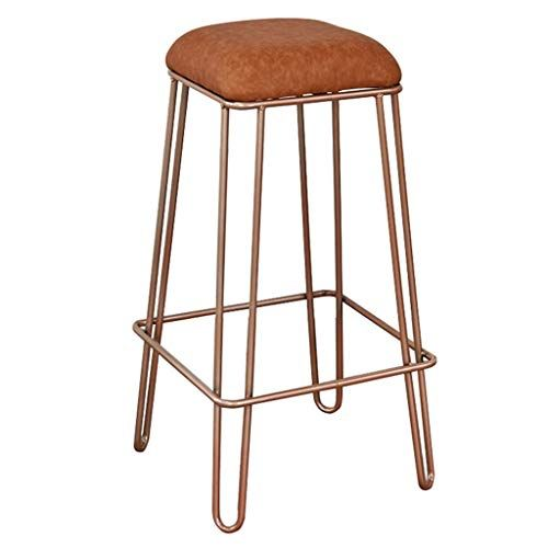 Mmli Barstools Bar Stool Counter Kitchen Home Breakfast Bistro Pub Cafe Height Footrest Soft Metal Faux Leather Anti Slip Bar Stools Bar Stool Chairs Foot Rest