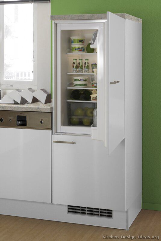 Modern White Kitchen Cabinets with built-in white Euro-style ...