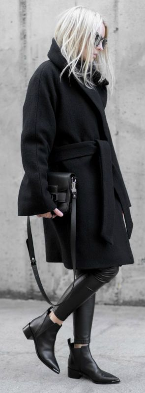 You can never go wrong with black on black. Try wearing leather leggings and chelsea boots to recreate Figtny's look.   Leggings/Coat: Artizia, Boots: ACNE, Bag: Proenza.