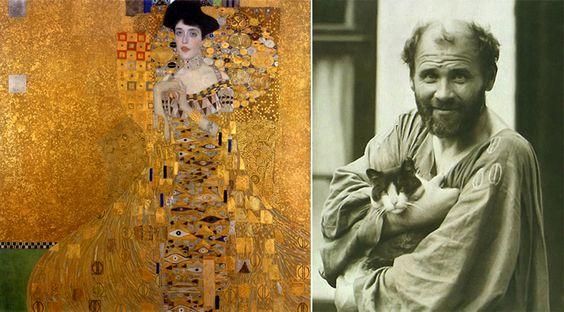 Gustav Klimt avec son chat