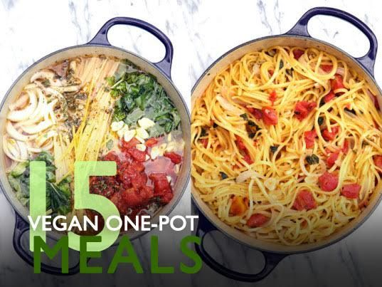 15 vegan one-pot dinners for no-fuss, low-mess meals in a flash | Inhabitots....tomato, basil, mushrooms, onions, garlic, spinach
